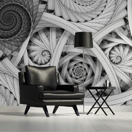Black and white spiral design paper wallpaper
